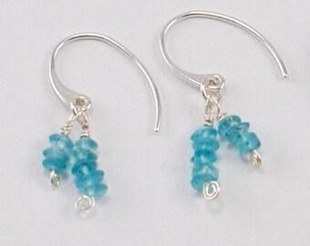 Green Blue Apatite Gemstone Fine Silver Dangle Earrings