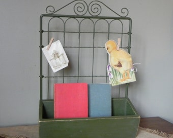 Vintage metal display rack for notes mail pictures photos wood