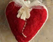 Sweet Valentine Heart - Vintage Millinery Flower - Red Wool Needle Felted Heart Valentine - Original Heart Decoration