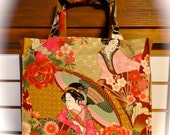 Japanese Geisha Tote Bag with Crane, Flowers, 3 Gold Pink Green TIGHT 'N' TIDY Tote Bag, Folding Shopping Bag, Market Tote Bag, Eco Bag