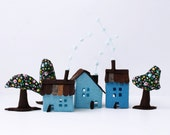 Miniature houses decoration, Blue Houses with trees, Room Decor, Children decorations, Housewarming gift