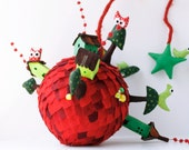 Big Red Planet  Mobile ornament Room Decoration Kids Nursery decor hanging decor Crib Mobile Christmas ornament Red Green shades