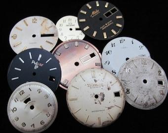 Vintage Antique Watch Dials Steampunk  Faces Parts Altered Art Industrial  H 96