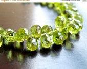 Clearance SALE Peridot Briolette Faceted 3-D Tear Drop Green Gemstone Briolette 9mm 20 beads