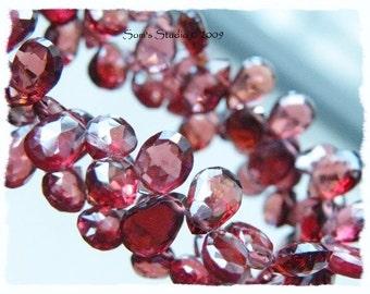 Rhodolite Garnet Gemstone Briolette AAA Faceted Pear 6.5 to 7.5mm 35 beads 1/2 Strand