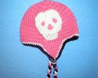 Pink Skull Beanie With Earflaps, Girls Skull Hat, Pink Beanie With Skull Applique, Skull Trimmed Hat, Pink and White Skull Hat, Girls Hat