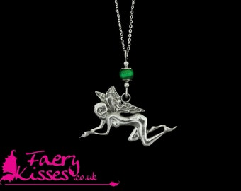 Fairy Necklace, Sterling Silver with Malachite - Original Kisses - Beryl - Exclusively by Faery Kisses
