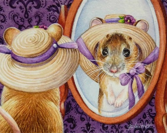 Mouse Wearing Bonnet Looking in Mirror Limited Edition ACEO Giclee Print reproduced from the Original Watercolor