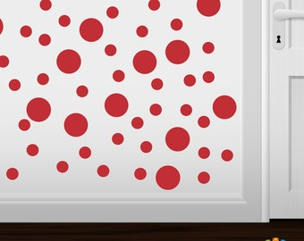 Set of 30 Red Vinyl Polka Dot Wall Decals Circles Stickers (Peel & Stick Decal Circle Dots)