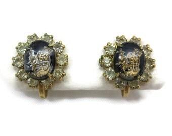 Vintage Earrings - Screwback - Intaglio Carved