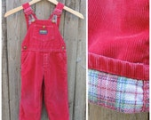 Vintage Kids OSH KOSH Overalls  // Vtg Made in the USA Distressed Red Corduroy Flannel Lined Vest Back Bibs // unisex toddler size 2/3T