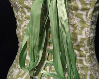 Mint Green Cream Victorian Spider Print Boned Waist Cincher