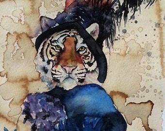 Audrey Tiger - Coffee and Watercolor Victorian Steam Punk Fine art print, portrait, striped, Hepburn, lady, cat, feathers, fancy, fair