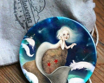 ON SALE Star of the Sea pocket mirror -  mermaid pocket mirror, mermaid accessory, girl pocket mirror, love letter, stormy sea -  by Melusee