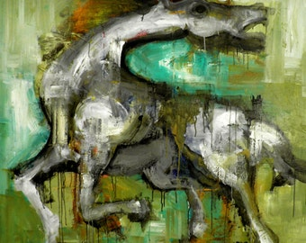 Original Horse Painting - Modern Abstract Art by SLAZO - 48x48 - Made to Order