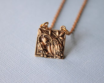 Bluebell Pendant Necklace, Bluebell charm, Floral Charm, Floral Necklace, Bronze necklace,