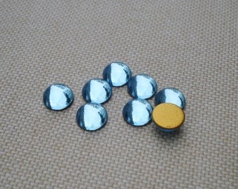 12 Vintage 7mm Small Aqua Blue Gold Foiled Flat Back Round Glass Cabs