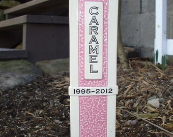 Pet Grave Marker Memorial Headstone Tombstone / custom handcrafted ceramic burial marker for all pets / pink and cream colored