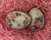 England Metal Easter Egg Box 2 3/4 Inch Pink Roses Design Craft Storage  TEG