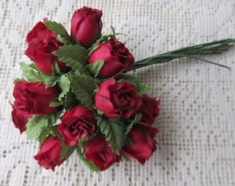 Fabric Millinery Flowers From Austria 12 Classic Red Rose Buds #A40