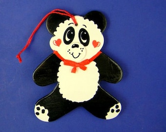 0033 Panda shape.Free shipping. Message shown is a suggestion. Ornaments can be written with a message/name/date of your choice.