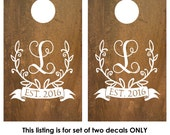 Cornhole Decal | Wedding Game | Cornhole Board Monogram Decal | Rustic Barn Wedding Decor | Personalized Cornhole Game Decal