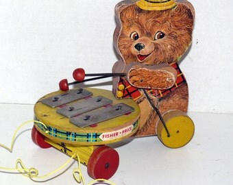 Fisher Price Teddy Zilo Pull Toy = Vintage = Collectible