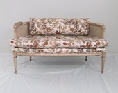 french country VINTAGE shabby cane back neoclassical settee