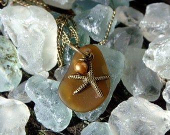 Surf Tumbled Hawaiian Olive Green Sea Glass Pendant  with Starfish on Brass Necklace