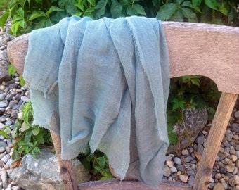 Hand dyed Scrim Gauze -  Muted Teal 1 Yard