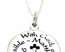 """Inspirational Jewelry """"With God All Things Are Possible"""" Quote Necklace 18"""" or 24"""", Inspirational Religious Spiritual Gift"""