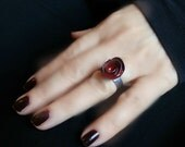 Rose Ring Black and Red Ring Cocktail Ring Statement Ring Gothic Beauty Ring