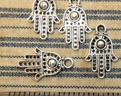 4 Antiqued Silver Hamsa Ward off Evil Protection Jewish Muslim Middle East Charm