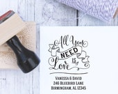 Custom Wedding Stamp - All You Need Is Love, Beatles, Handwritten, Address Stamp, Wooden Stamp, Self Inking Stamp, Rubber Stamp, Calligraphy