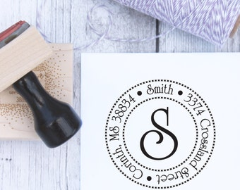 Address Stamp - Circles N Circles, Wedding Stamp, Housewarming Gift, Wooden Stamp, Self Inking, Rubber Stamp, Monogram Stamp, Custom