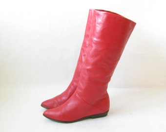 Vintage 80's Red Leather Riding Boots. Size 6 1/2