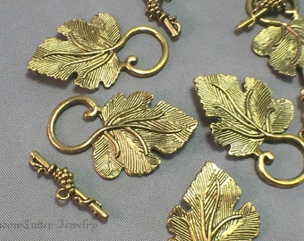 Large gold tone Leaf style Toggle clasps, 5 sets, 37mm 1.5inch, grape leaf and vine, jewelry supplies jewellery supply findings fasteners