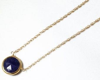 Blue Sapphire Necklace Genuine Sapphire Necklace 18k Gold September Birthstone Necklace Precious Sapphire Necklace BZ-P-105-Sapph/g