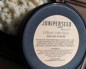 Cedar and Sage Sugar Scrub - eco-friendly post consumer resin jar - made with Organic Ingredients