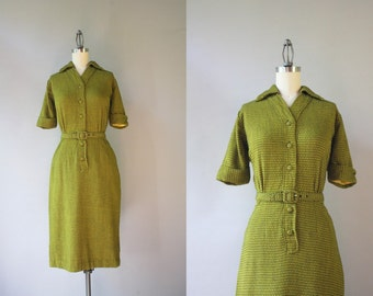 1950s Dress / Vintage 50s Knit Wiggle Dress / 1960s Fitted Knit Helix Dress