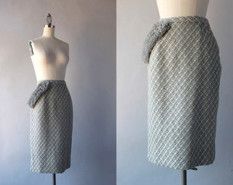1960s Pencil Skirt / Vintage 60s Wool Wiggle Skirt / 1950s Fitted Knit Pencil Skirt