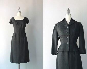1950s Suit / Vintage 50s Hourglass Dress and Jacket Set / Black Silk Talmack Suit