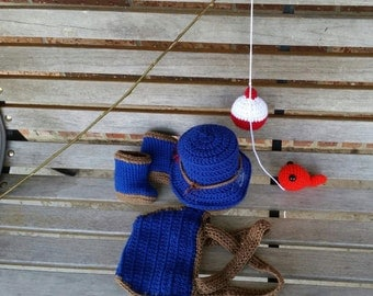 Little Fisherman, Photo Prop, Diaper Cover with Suspenders, Boots, Hat, Bobber, and Fish