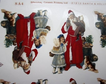 Vintage ceramic decals decal sheet Victorian Santa Claus St Nick w children and dog by Spectrum Ceramic Printers in England