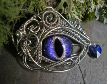 Gothic Steampunk Silver upon Purple Blue Eye Pendant with Heart Teardrop
