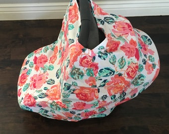 Car Seat Canopy - Delicate Flower Car Seat Canopy, Nursing Cover, Shopping Car Cover & Scarf