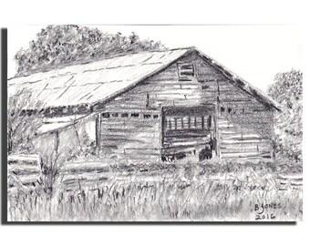 Original Rustic Barn Graphite Pencil Drawing- 4X6 inch OSWOA - BRJ