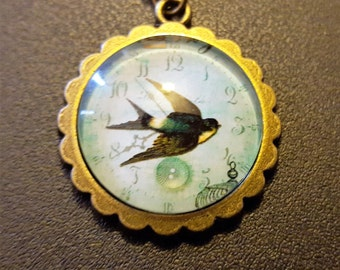 Steampunk Inspired Swallow cabochon Necklace