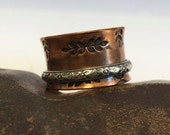 Copper and Sterling Silver Spinner Ring - Wide Band  - Hand Stamped  - Floral - Made to Order