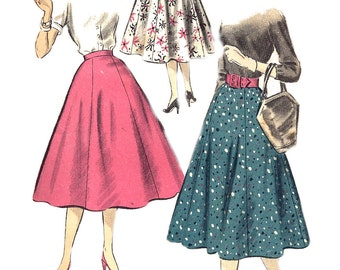 1950s Skirt Pattern Advance Uncut Vintage Sewing Pattern Flared 6 Gore Women's Misses Waist 24 Inches